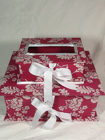 pink white diy card box NEW