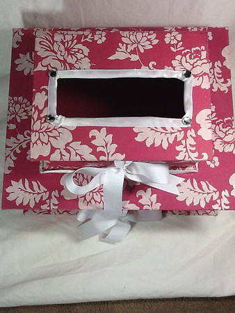 pink white card box
