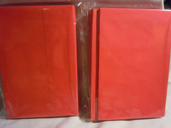 Red self sealing envelopes